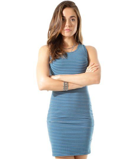 Vestido Listrado Azul Petróleo
