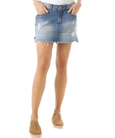 Saia Jeans Azul Médio