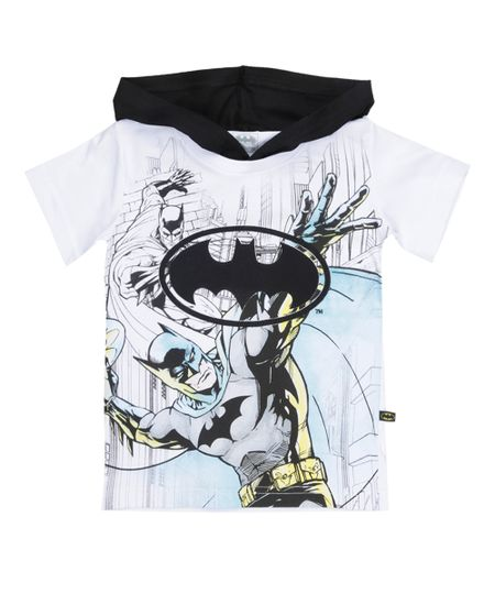 Camiseta com Capuz Batman Branca