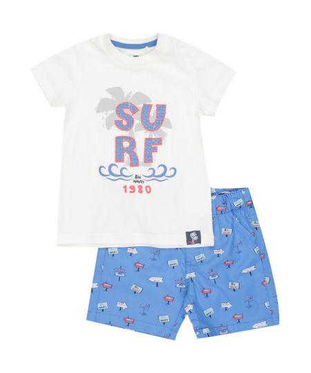 Conjunto de Camiseta Off White + Bermuda Estampada Azul