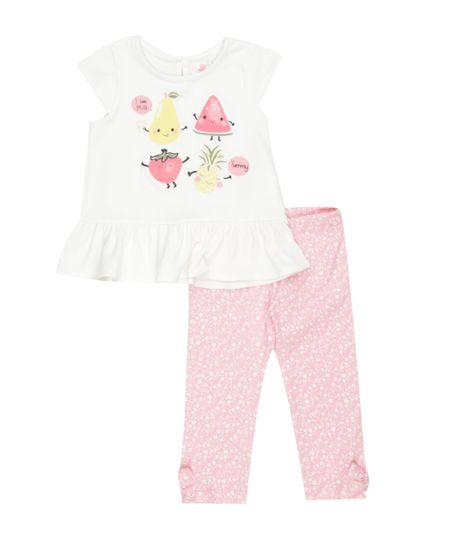 Conjunto de Blusa Off White + Calça Legging Floral Rosa
