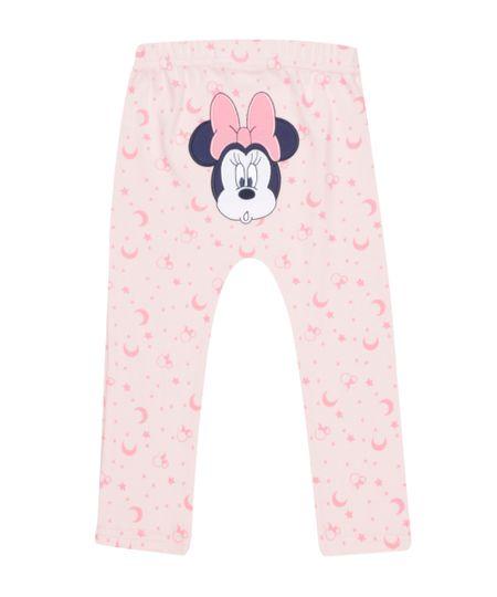 Calça Estampada Minnie em Algodão + Sustentável Rosa Claro