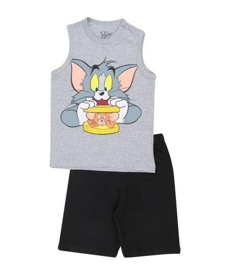 Conjunto Tom & Jerry de Regata Cinza + Bermuda Preta