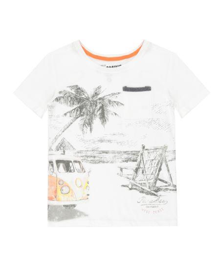 Camiseta com Bolso Off White