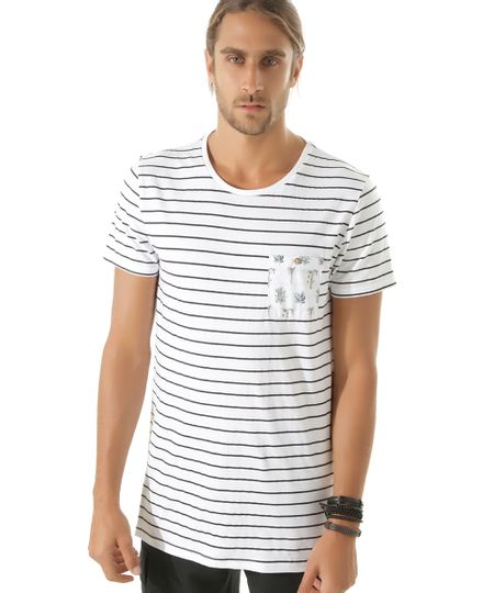 Camiseta Longa Listrada Branca