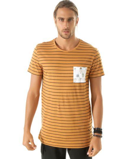 Camiseta Longa Listrada Caramelo