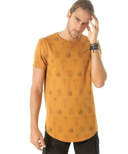 Camiseta Longa Estampada de Folhagem Caramelo