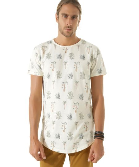 Camiseta Longa Estampada de Folhagem Off White