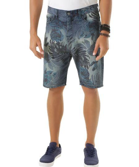 Bermuda Jeans Estampada Azul Médio