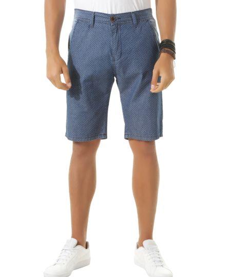 Bermuda Jeans Slim Estampada de Poá Azul Médio