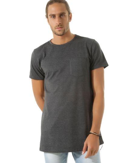 Camiseta Longa com Bolso Cinza Mescla Escuro