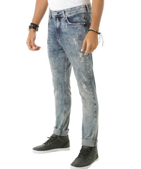 Calça Jeans Slim Azul Médio