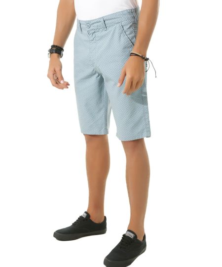 Bermuda Slim Estampada Azul Claro