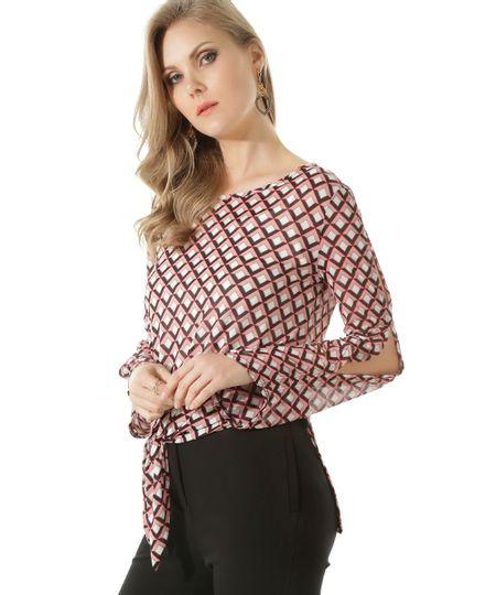 Blusa Estampada Geométrica Rosa