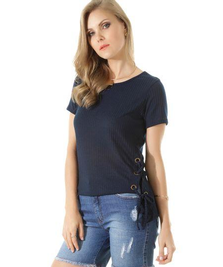 Blusa Canelada com Amarração Azul Marinho