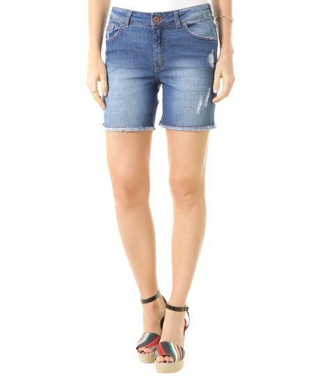 Short Jeans Reto Azul Médio