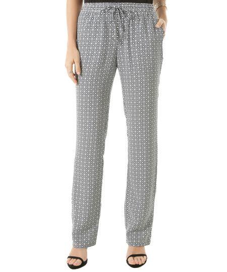 Calça Pantalona Estampada Geométrica Off White