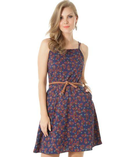 Vestido Estampado Paisley Azul Marinho