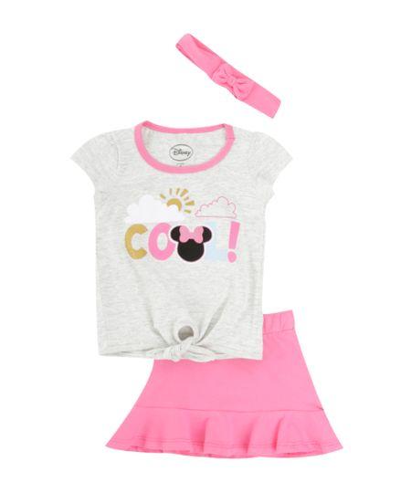 Conjunto de Blusa Cinza Mescla + Saia Minnie + Faixa de Cabelo Pink