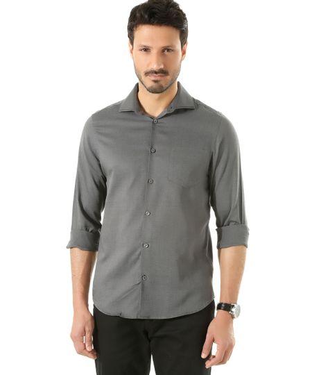 Camisa Social Slim Estampada de Poá Chumbo