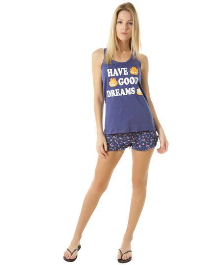 Pijama Garfield Azul Marinho