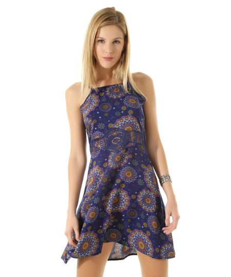 Vestido com Renda Estampado Étnico  Azul Marinho