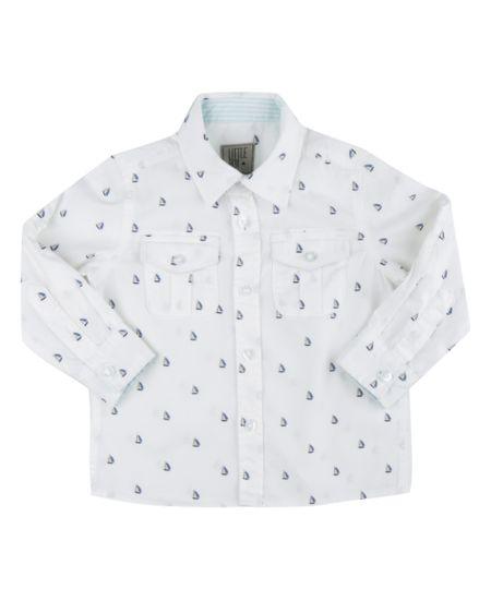 Camisa Estampada de Barquinhos Branca