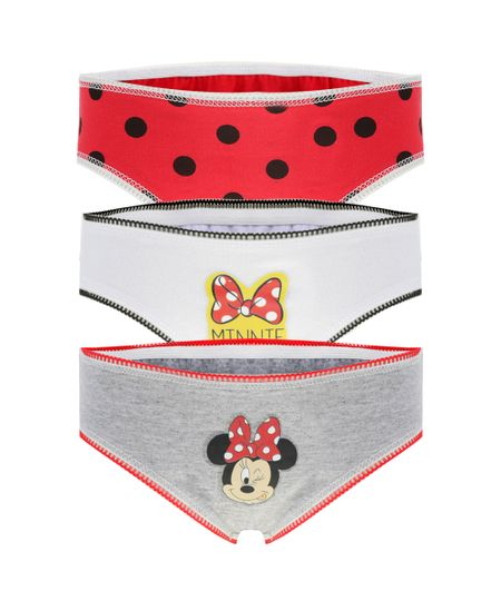 Kit de 3 Calcinhas Minnie Multicor