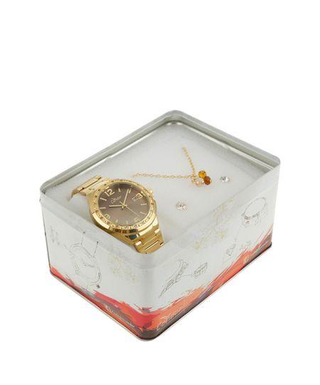 Kit de Relógio Condor Feminino Analógico + Colar e Brinco - CO2115UPK4M Dourado