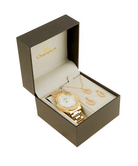 kit de Relógio Champion Feminino Analógico + Colar e Brinco - CN29329W Dourado