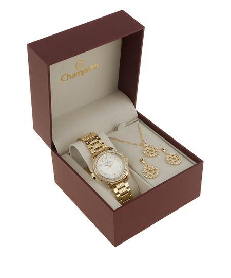kit de Relógio Champion Feminino Analógico + Colar e Brinco - CN28802W Dourado