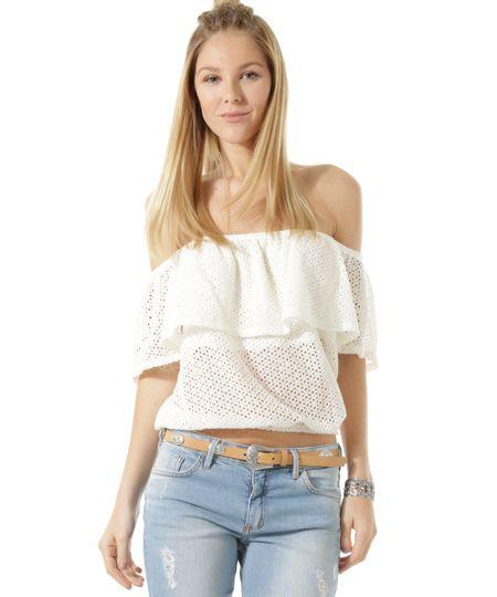 Blusa Cropped em Renda de Ombro a Ombro Off White