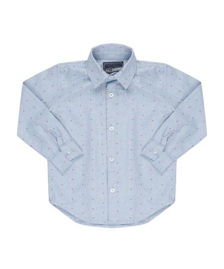 Camisa Estampada de Ancoras Azul Claro