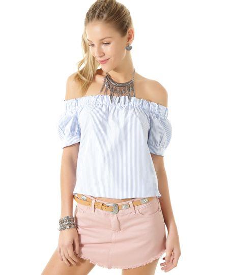 Blusa Ombro a Ombro Listrada Azul Claro