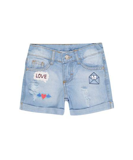 Short Jeans com Patchs Azul Claro