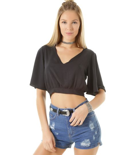 Blusa Cropped com Amarração Preta