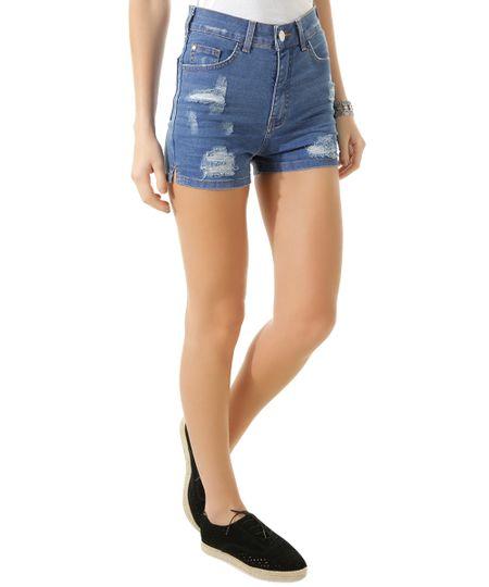 Short Hot Pant Jeans Azul Médio