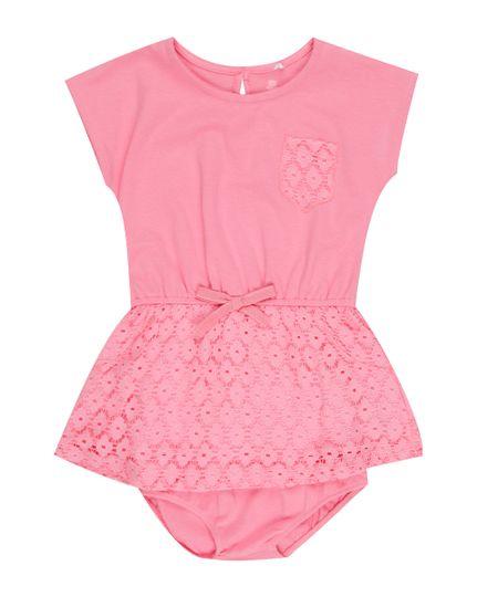 Vestido com Renda + Calcinha Rosa