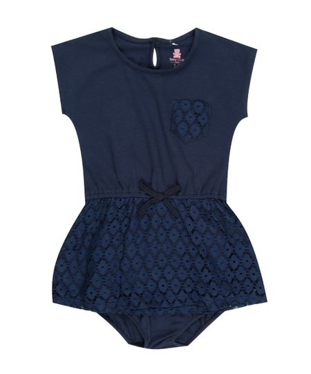 Vestido com Renda + Calcinha Azul Marinho