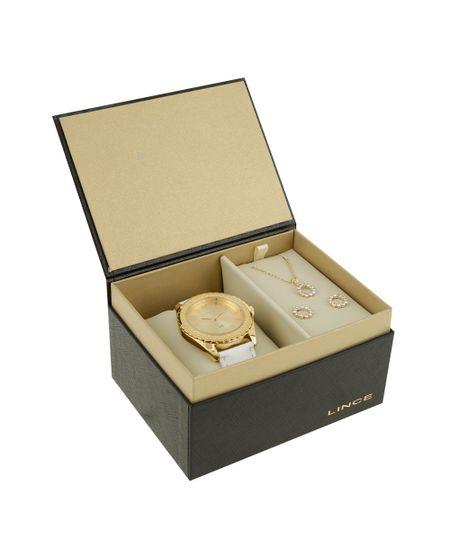 Kit de Relógio Lince Feminino Analógico + Colar + Brinco - LRC4315L-K163C2BX Dourado