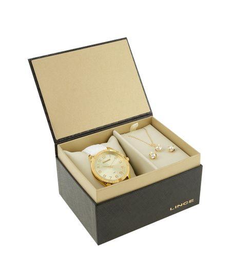 Kit de Relógio Lince Feminino Analógico + Colar + Brinco - LRC4342L-K165C2BX Dourado