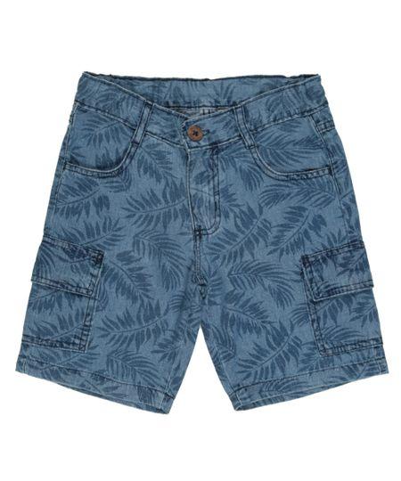 Bermuda Cargo Jeans Estampada de Folhagens Azul Médio