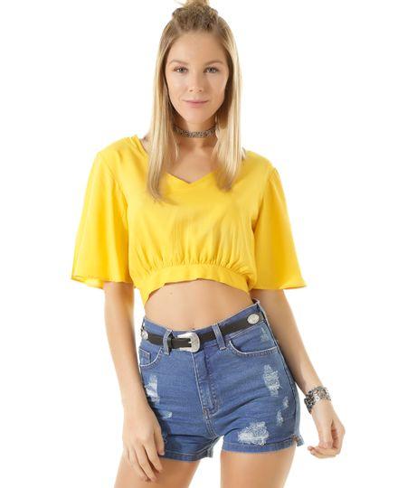 Blusa Cropped com Amarração Amarela