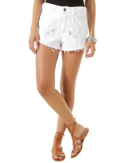 Short com Bordado Dress To Branco
