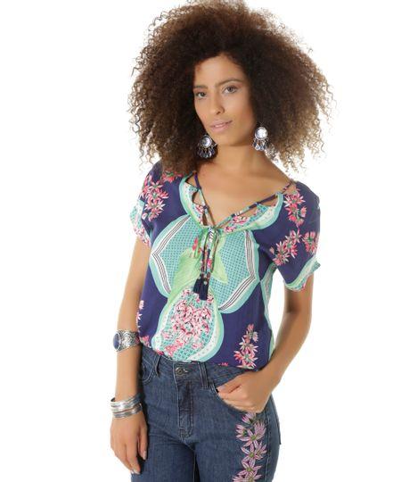 Blusa Cropped Estampada Flora Dress To Azul Marinho