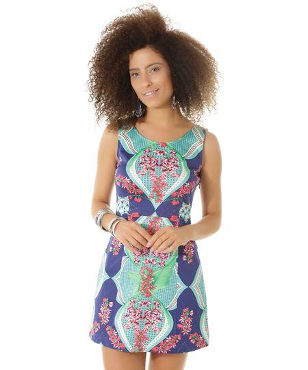 Vestido Estampado Flora Dress To Azul Marinho