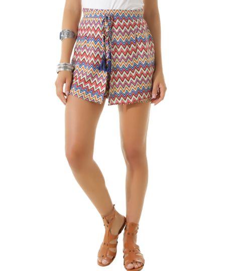 Short Saia Estampada Technocolor Dress To Rosa