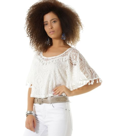 Blusa Cropped em Renda Dress To Off White