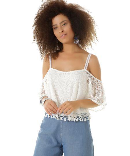 Blusa Open Shoulder em Renda Dress To Off White