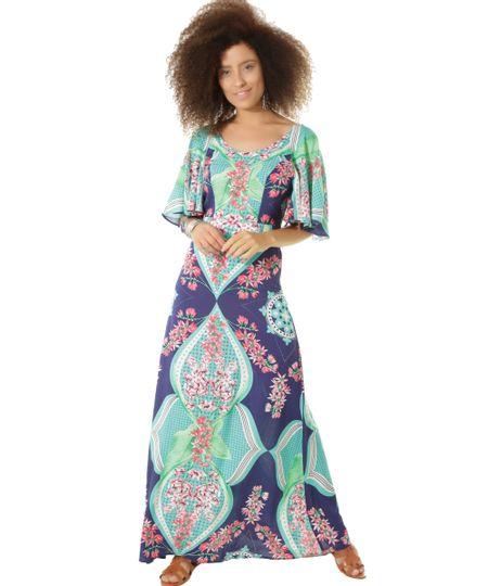 Vestido Longo Estampado Flora Dress To Azul Marinho